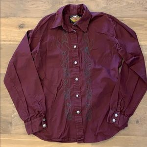 Harley-Davidson Maroon Embroidered Blouse S
